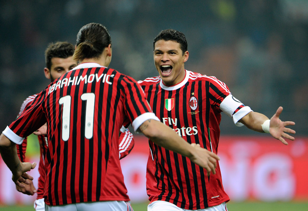 Zlatan Ibrahimovic dan Thiago Silva saat masih di AC Milan
