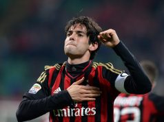 MILAN, ITALY - MARCH 29: Kaka of AC Milan celebrates scoring the third goal during the Serie A match between AC Milan and AC Chievo Verona at San Siro Stadium on March 29, 2014 in Milan, Italy. (Photo by Claudio Villa/Getty Images)