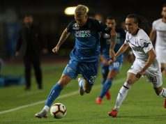 EMPOLI, ITALY - SEPTEMBER 27: Giovanni Di Lorenzo of Empoli FC in actio against Diego Laxalt of AC Milkan during the serie A match between Empoli and AC Milan at Stadio Carlo Castellani on September 27, 2018 in Empoli, Italy. (Photo by Gabriele Maltinti/Getty Images)