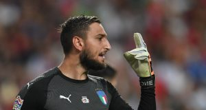 LISBON, PORTUGAL - SEPTEMBER 10: Gianluigi Donnarumma of Italy gestures during the UEFA Nations League A group three match between Portugal and Italy at on September 10, 2018 in Lisbon, Portugal. (Photo by Claudio Villa/Getty Images)