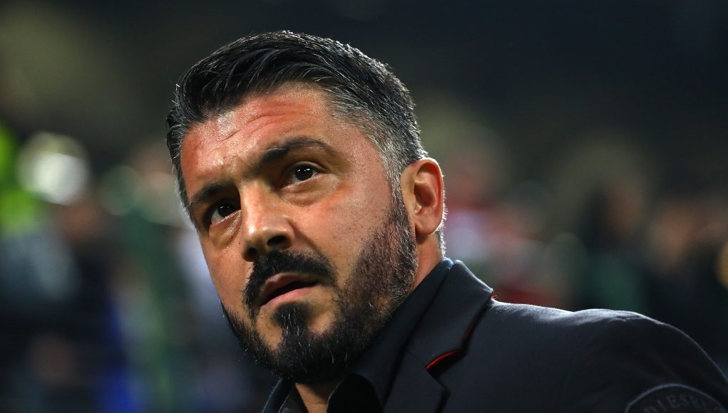 MILAN, ITALY - OCTOBER 25: AC Milan coach Gennaro Gattuso looks on before the UEFA Europa League Group F match between AC Milan and Real Betis at Stadio Giuseppe Meazza on October 25, 2018 in Milan, Italy. (Photo by Marco Luzzani/Getty Images)