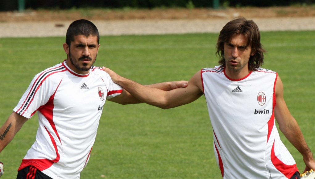 CARNAGO, ITALY - MAY 16: Gennaro Gattuso (L) , Andrea Pirlo and Cristian Brocchi stretch during a training session ahead of next week's UEFA Champions League Final against Liverpool during the AC Milan Media Day at Milanello on May 15, 2007 in Carnago, Italy. (Photo Giuseppe Cacace / Getty Images)