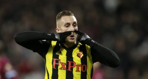 LONDON, ENGLAND - DECEMBER 22: Gerard Deulofeu of Watford celebrates after scoring his team's second goal during the Premier League match between West Ham United and Watford FC at London Stadium on December 22, 2018 in London, United Kingdom. (Photo by Henry Browne/Getty Images)