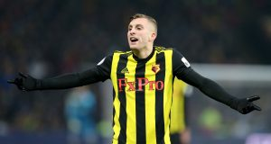 WATFORD, ENGLAND - JANUARY 19: Gerard Deulofeu of Watford reacts during the Premier League match between Watford FC and Burnley FC at Vicarage Road on January 19, 2019 in Watford, United Kingdom. (Photo by Alex Morton/Getty Images)