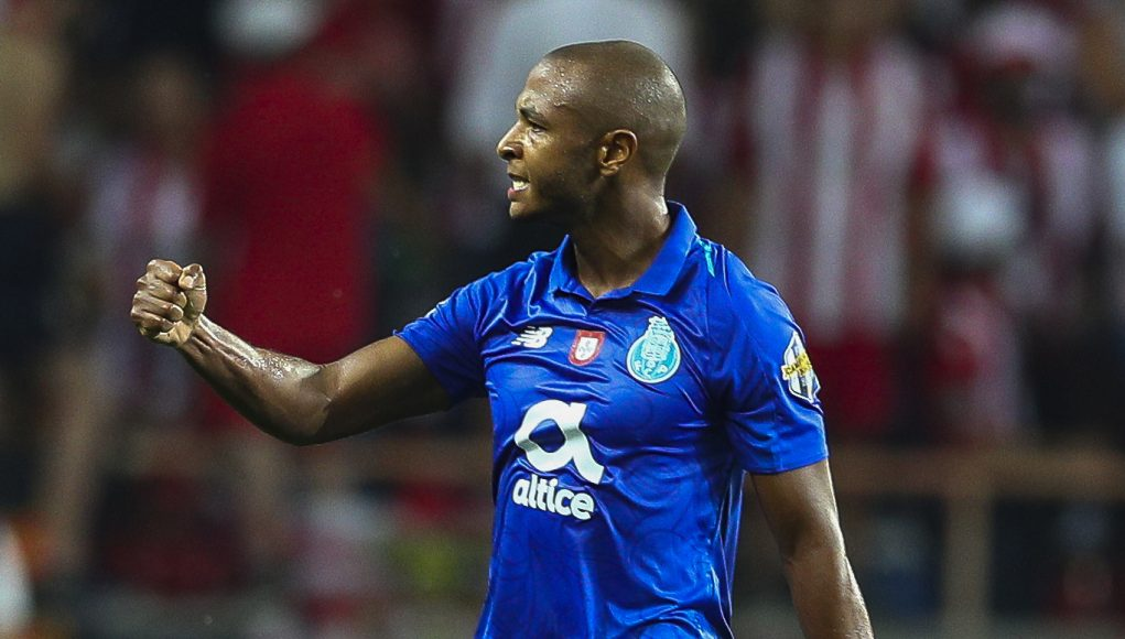 AVEIRO, PORTUGAL - AUGUST 04:Yacine Brahimi of FC Porto celebrates scoring Porto first goal during the match between FC Porto and Desportivo das Aves for the Portuguese Super Cup at Estadio Municipal de Aveiro on August 4, 2018 in Aveiro, Portugal. (Photo by Carlos Rodrigues/Getty Images)