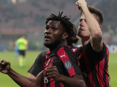 MILAN, ITALY - FEBRUARY 22: Frank Kessie of AC Milan celebrates his goal with his team-mate Krzysztof Piatek during the Serie A match between AC Milan and Empoli at Stadio Giuseppe Meazza on February 22, 2019 in Milan, Italy. (Photo by Emilio Andreoli/Getty Images)