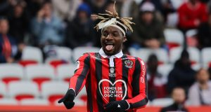 "Nice's French forward Allan Saint-Maximin reacts during the French L1 football match between Nice and Montpellier on April 7, 2019 at the ""Allianz Riviera"" stadium in Nice, southeastern France. (Photo by VALERY HACHE / AFP) (Photo credit should read VALERY HACHE/AFP/Getty Images)"