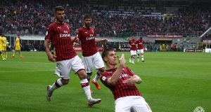 ESCLUSIVA MILAN Foto Spada/LaPresse 19 Maggio 2019 Milano ( Italia ) sport calcio Milan vs Frosinone - Campionato di calcio Serie A TIM 2018/2019 - Stadio San Siro Nella foto: piatek esultanza dopo il gol 1-0 EXCLUSIVE MILAN Photo Spada/LaPresse May 19 , 2019 Milan ( Italy ) sport soccer Milan vs Frosinone - Italian Football Championship League A TIM 2018/2019 - San Siro Stadium In the pic: piatek celebrates after scoring 1-0