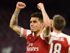Arsenal's Uruguayan midfielder Lucas Torreira celebrates at the end of the UEFA Europa League quarter-final second leg football match Napoli vs Arsenal on April 18, 2019 at the San Paolo stadium in Naples. (Photo by Andreas SOLARO / AFP) (Photo credit should read ANDREAS SOLARO/AFP/Getty Images)