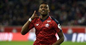 Lille's Rafael Leao celebrates after scoring a goal during the French L1 football match between Lille (L1) and Toulouse on December 22 2018 at the Pierre Mauroy Stadium in Villenueve-d'Ascq. (Photo by FRANCOIS LO PRESTI / AFP) (Photo credit should read FRANCOIS LO PRESTI/AFP/Getty Images)