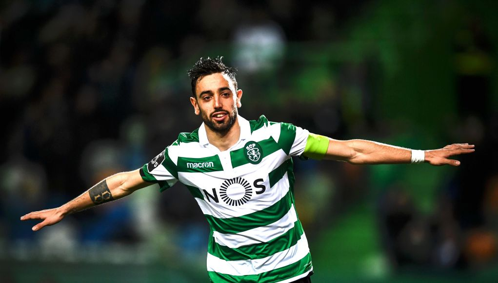 Sporting's Portuguese midfielder Bruno Fernandes celebrates after scoring a goal during the Portuguese league football match between Sporting CP and Portimonense SC at the Jose Alvalade stadium in Lisbon on March 3, 2019. (Photo by PATRICIA DE MELO MOREIRA / AFP) (Photo credit should read PATRICIA DE MELO MOREIRA/AFP/Getty Images)