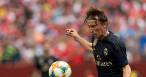 Real Madrid's Croatian midfielder Luka Modric